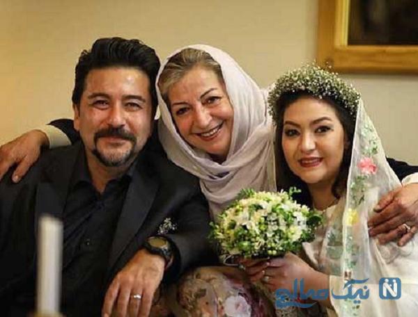 امیرحسین صدیق و همسرش درکنار مرضیه برومند
