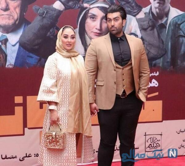 خانم بازیگر قبل از لاغری درکنار همسرش