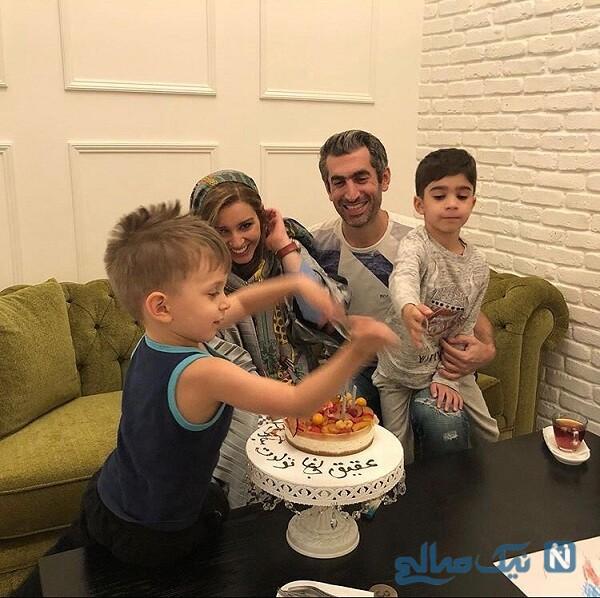 مجتبی جباری و پسرانش در تولد همسرش