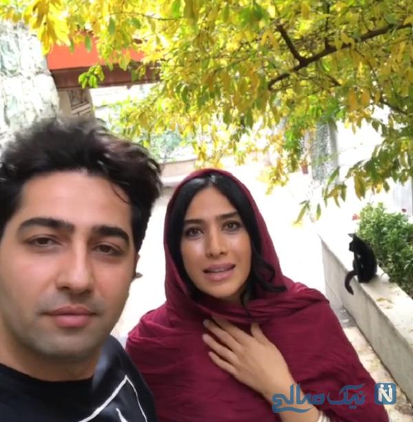 سلفی علی سخنگو با همسرش