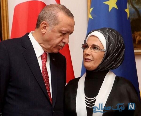 رئیس جمهور ترکیه و همسرش
