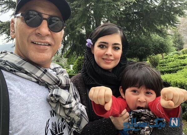 حمیدرضا آذرنگ به همراه همسر و پسرش در طبیعت
