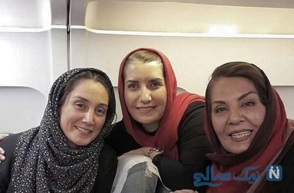 هدیه تهرانی و خانم های بازیگر در هواپیما
