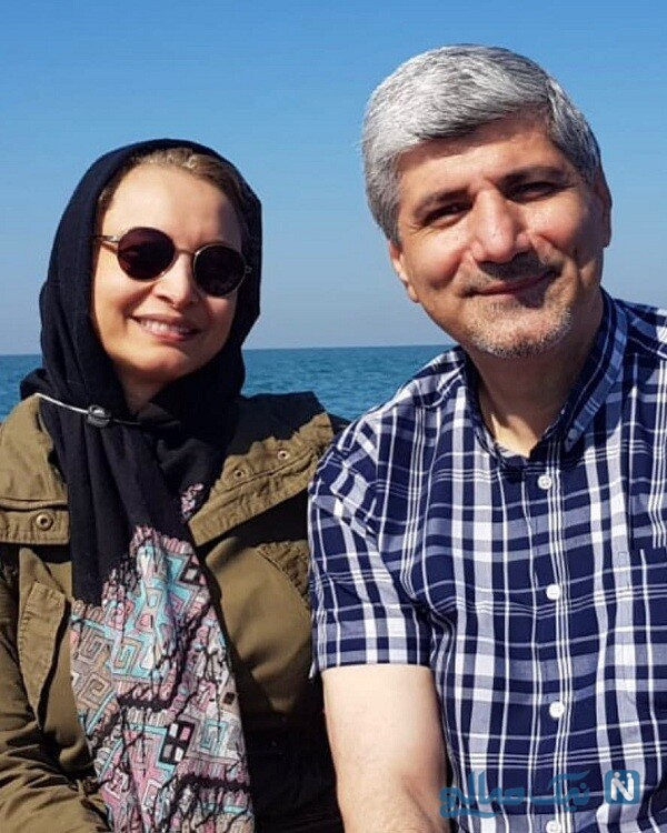 مریم کاویانی و همسرش لب دریا