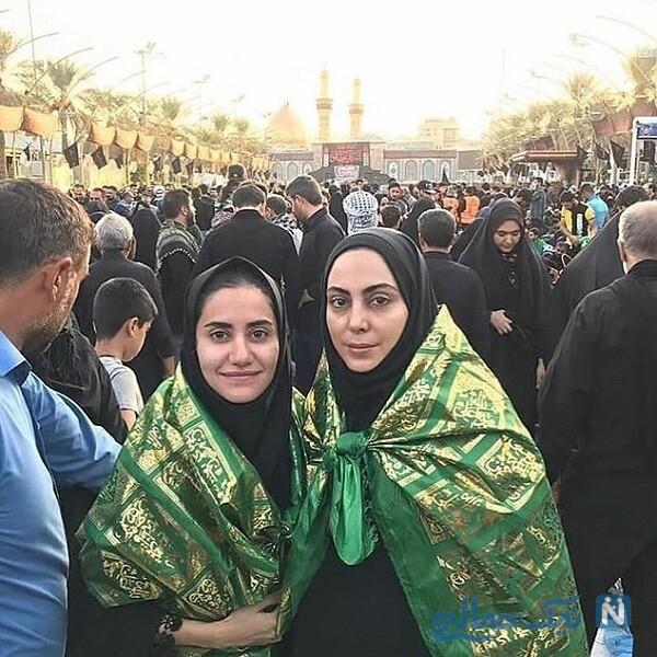 نیلوفر شهیدی و خواهر الناز شاکردوست در کربلا