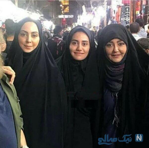 خانم های بازیگر و نیلوفر شهیدی در کربلا