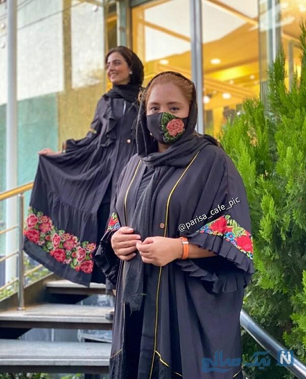 ست ماسک و مانتو نرگس محمدی بازیگر و خواهرش