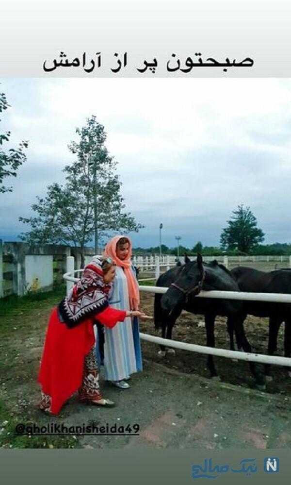 صبح پر آرامش شبنم قلی خانی در کنار خواهرش