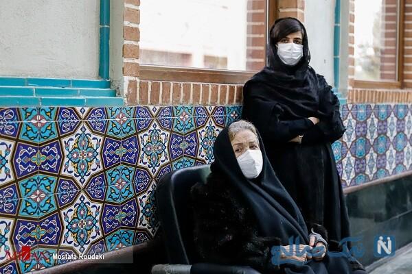 همسر اول و دوم استاد شجریان در مراسم تشییع