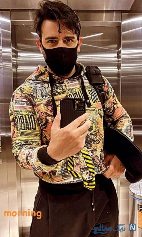 عکس سلفی امیرحسین آرمان با لباس عجیبش
