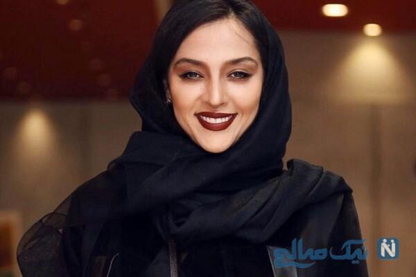 آناهیتا درگاهی همسر اشکان خطیبی با لباس ارتشی در یک روز برفی