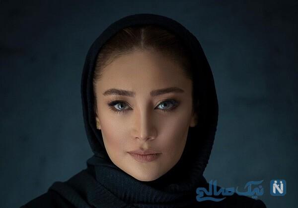 گریم بهاره افشاری با شال آبی شکل دختران افغانی