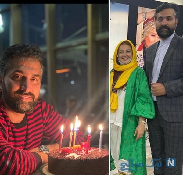 جشن تولد ۴۳ سالگی امیرخسرو عباسی همسر بهاره رهنما با کیک ساده