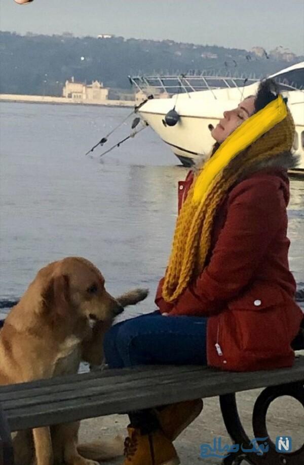 گشت و گذار الناز شاکردوست با سگ اش