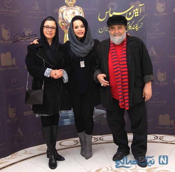 جدیدترین استایل ملیکا شریفی نیا در کنار پدر و مادرش