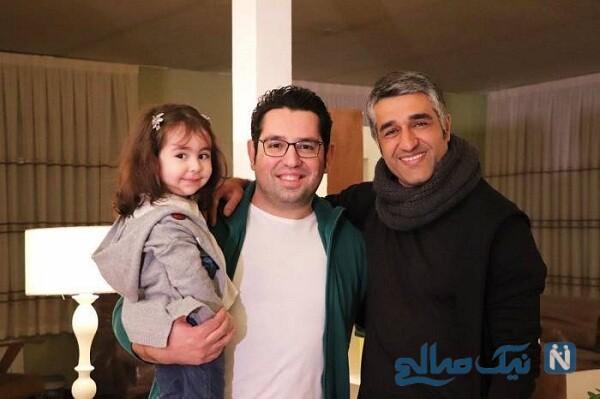 پژمان جمشیدی درکنار گزارشگر معروف فوتبال و دخترش