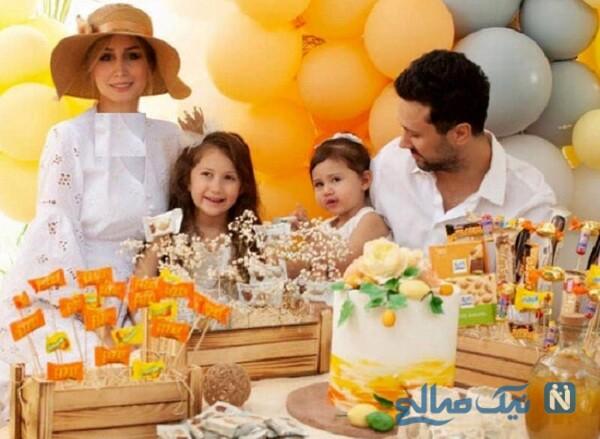 آقای بازیگر در کنار همسر و دخترانش
