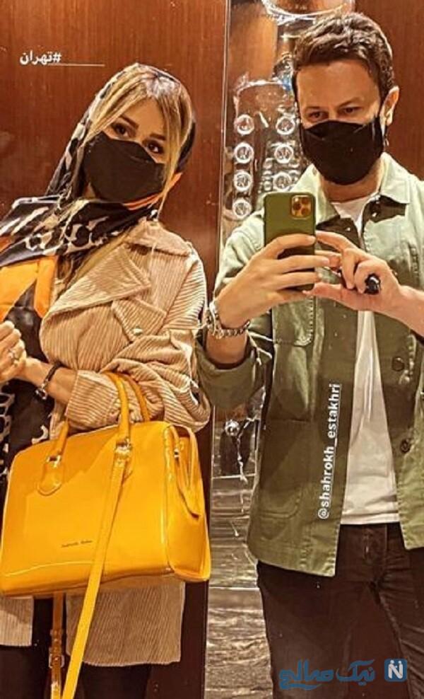 سلفی شاهرخ استخری با همسرش در آسانسور