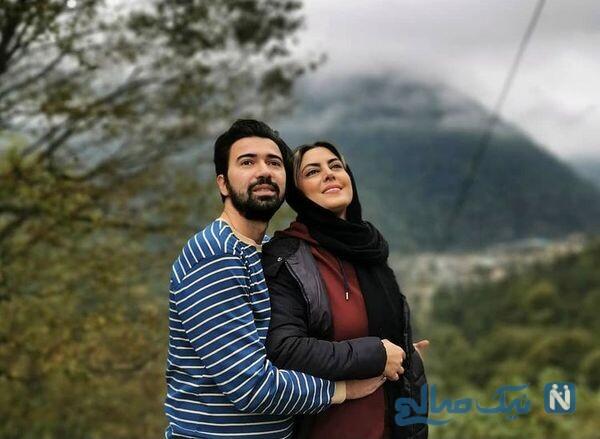 عکس عاشقانه نیلوفر شهیدی و همسرش در پاییز زیبا و دل انگیز