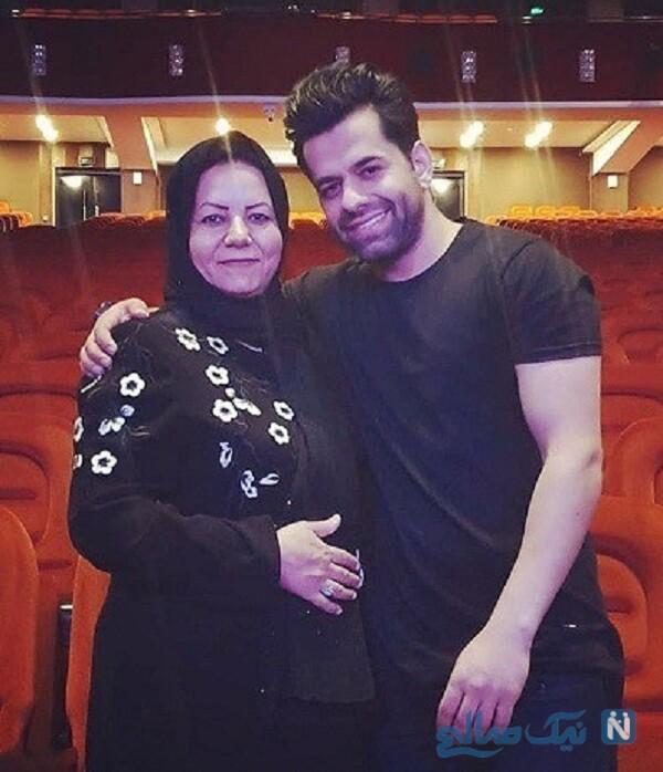 عکس رضا بهرام و مادرش