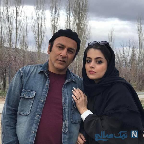 حمیدرضا آذرنگ و همسرش
