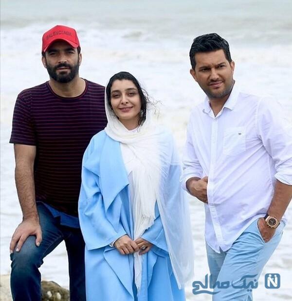 ساره بیات بازیگر سریال دل در کنار حامد بهداد و منوچهر هادی