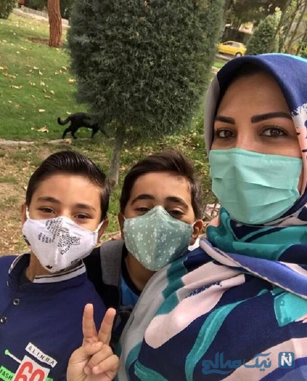 المیرا شریفی مقدم و پسرانش در پارک