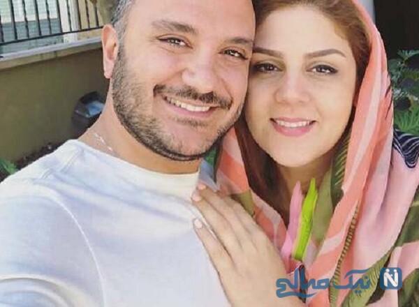 احسان کرمی مجری تلویزیون و همسرش