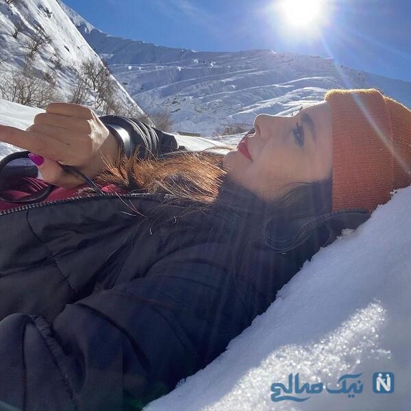 لیندا کیانی در طبیعت سرد زمستانی