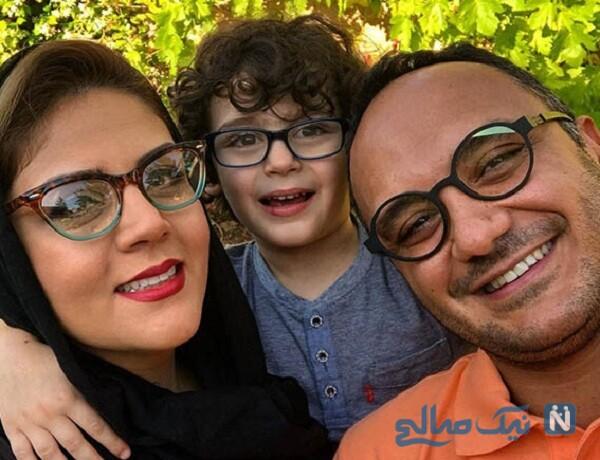 احسان کرمی پسرش و همسرش