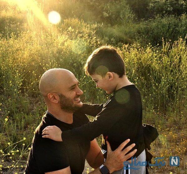 احسان کرمی به همراه پسرش در طبیعت