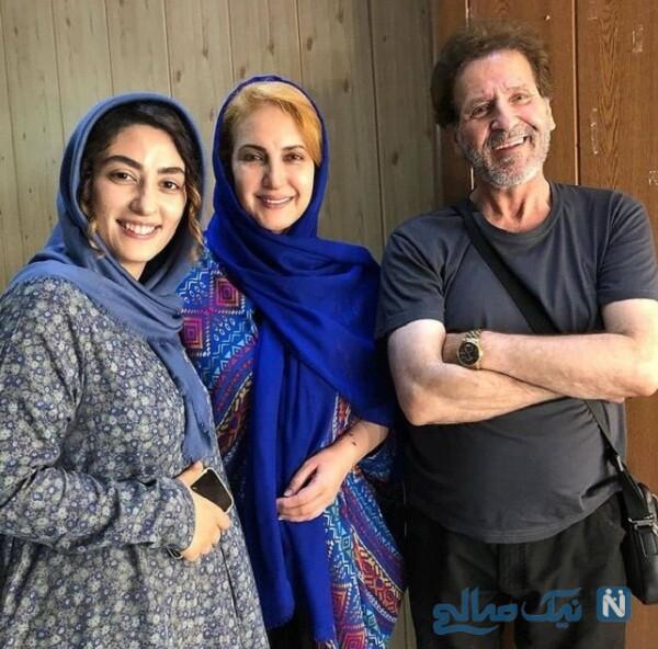 فاطمه گودرزی و ابوالفضل پورعرب در پشت صحنه سریال شرم