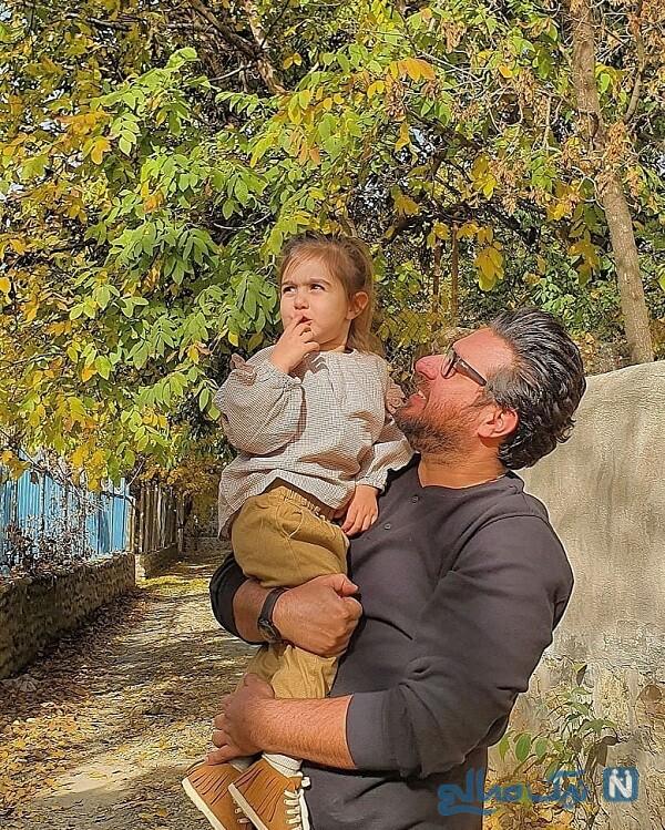 استایل پاییزی محسن کیایی و دخترش