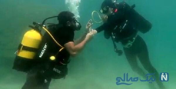 ازدواج خانم بازیگر و همسرش زیر دریا