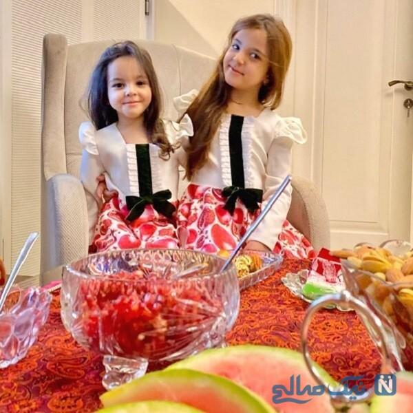عکس یلدایی تیارا و ویانا با ست جالب لباسشان