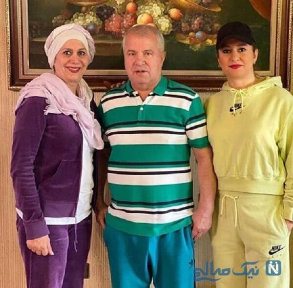 ورزش کردن همسر و دختر علی پروین در خانه