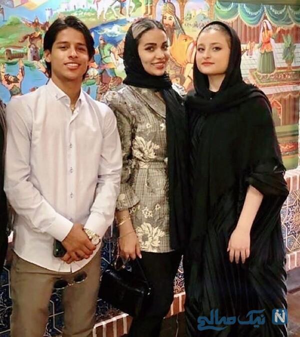 سارا فرقانی در کنار مهدی قائدی و همسرش