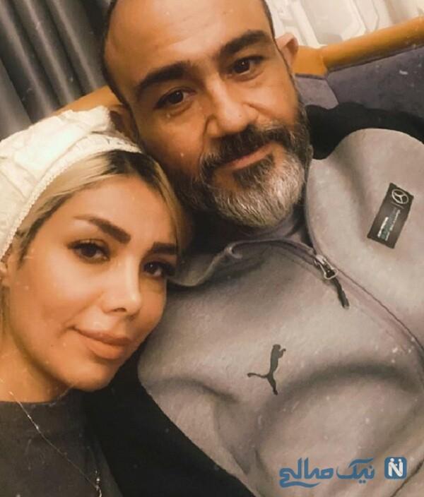 سلفی عاشقانه مهران غفوریان و همسرش