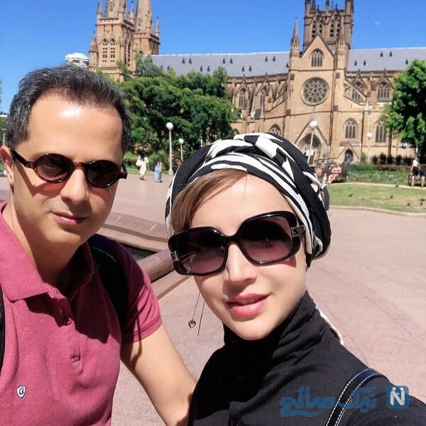 عکس شبنم قلی خانی و همسرش در خارج