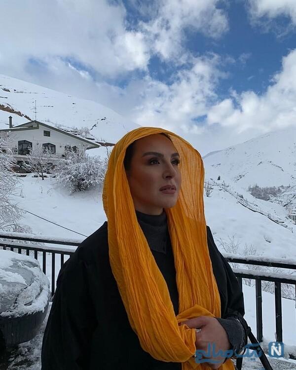 بازیگر معروف در طبیعت پوشیده از برف