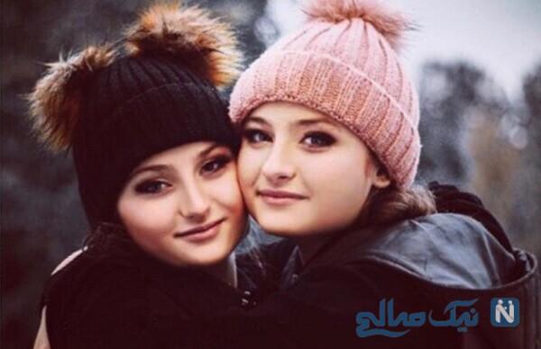تصاویر جالب از سارا و نیکا فرقانی کنار مادرشان در بارش شدید برف
