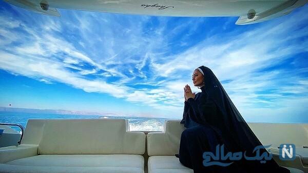 دعا کردن سحر قریشی در دریا
