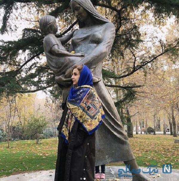 گردش خانم بازیگر در پارک