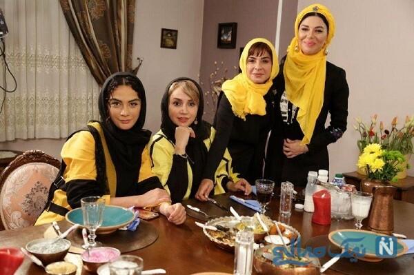 خانم های بازیگر و شبنم قلی خانی در شام ایرانی