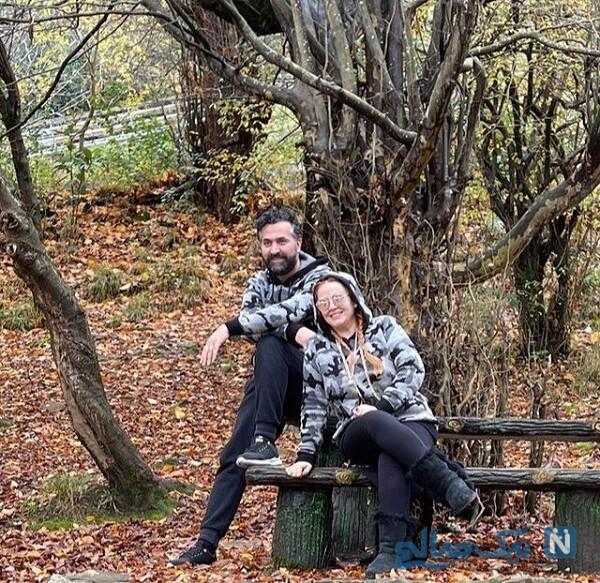 ست جالب لباس بهاره رهنما و همسرش در طبیعت پاییزی