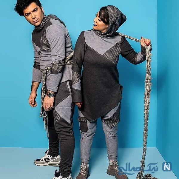 بازی با طناب فریبا طالبی و همسرش