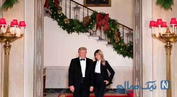 ترامپ و ملانیا در آخرین کریسمس کاخ سفید