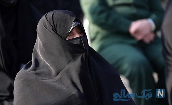 همسر شهید فخری زاده در مراسم تشییع