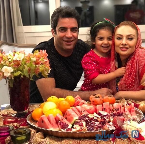 شب یلدای یکتا ناصر و خانواده اش