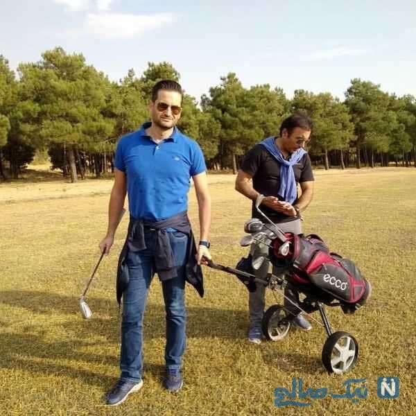پویا امینی در حال بازی گلف